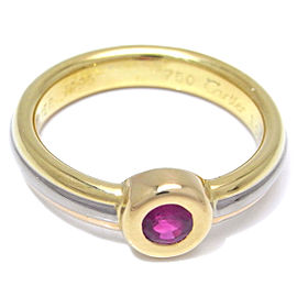 Cartier Ring 18k Tri-Color Gold Ruby Size 4.5