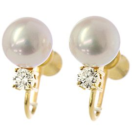 Mikimoto 18K Yellow Gold Cultured Pearl Diamond Earrings