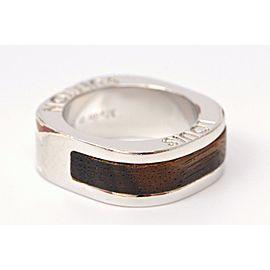 Louis Vuitton Silver Tone Metal Wood Leo Monogram Ring Size 8.0
