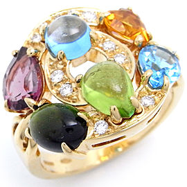Bulgari Astrale Multi Stone 18k Yellow Gold Ring Size 6.75
