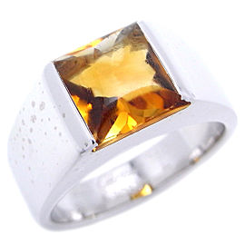 Cartier Tank Ring 18k White Gold Citrine Size 5.75