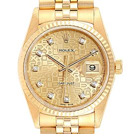 Rolex Datejust Yellow Gold Anniversary Diamond Dial Mens Watch 16238