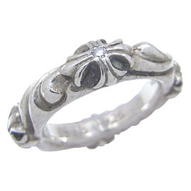 Chrome Hearts Sterling Silver Diamond Ring Size 4.75