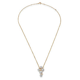 Mikimoto 18K Yellow Gold Cultured Pearl, Diamond Necklace
