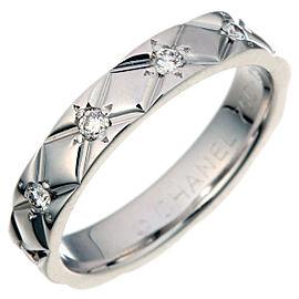 Chanel Matelasse 18k White Gold Diamond Ring Size 4.75