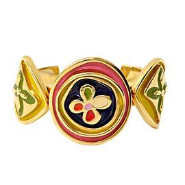 Louis Vuitton Gold Tone Metal Monogram Flower Bangle Bracelet