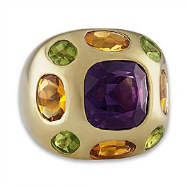 Chanel 18K Yellow Gold Amethyst Citrine & Peridot Ring Size 3.5