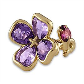 Chanel 18K Yellow Gold Amethyst Tourmaline Flower Ring Size 5.5