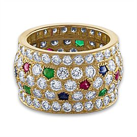 Cartier 18K Yellow Gold Sapphire, Emerald , Ruby and Diamond Ring Size 5.75