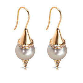 Diamond & Pearl Earrings in 18KT Rose Gold 0.74 ctw