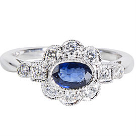 Diamond & Sapphire Vintage Style Ring in 18K White Gold (0.32 CTW)