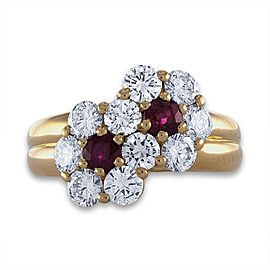 Mauboussin 18K Yellow Gold Ruby & Diamond Ring Size 5.75