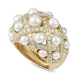 Chanel 18K Yellow Gold Cultured Pearl Diamond Ring Size 7