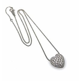 900 Platinum Dome Pave .80ctw Diamond Heart Pendant Ball Necklace