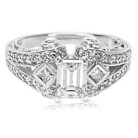 IGI Certified Emerald Cut Diamond Engagement Ring in 18K White Gold (1.67 CTW)