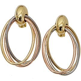 Cartier Trinity Earrings 18K Yellow White & Rose Gold