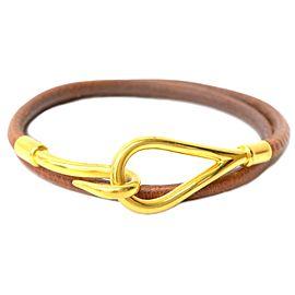 Hermes Gold Tone Hardware and Leather Jumbo Bangle Bracelet