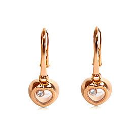 Chopard Diamond Happy Heart 18K Rose Gold Diamond Earrings