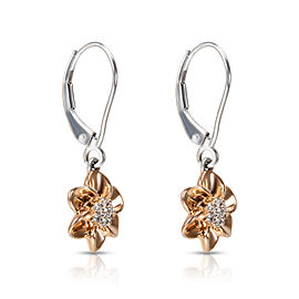 Diamond Daisy Drop Earrings in 14KT White & Rose Gold 0.10 ctw