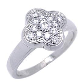 Van Cleef & Arpels White Gold Alhambra Diamond Ring Size 4.75
