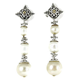 John Hardy Sterling Silver 18K Yellow Gold Long Pearl Jaisalmer Drop Earrings