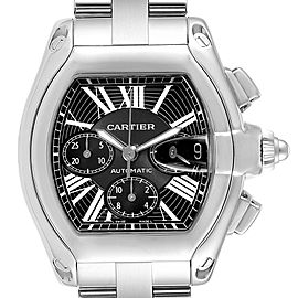 Cartier Roadster XL Chrono Black Dial Steel Mens Watch W62020X6