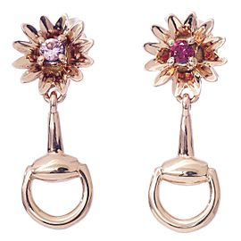 Gucci 18 RG Sapphire, Ruby horsebit Flower motif Earrings
