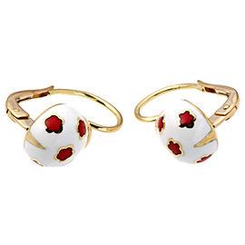 Ponte Vecchio YG Enamel Ladybug Motif Earrings