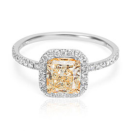 GIA Certified Yellow Radiant Diamond Engagement Ring in 18k WG & YG (0.82 CTW)