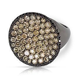 Yellow Diamond Disc ring in 18K Black Rhodium 3.50CTW