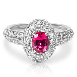 18K White Gold Spinel, Diamond Ring Size 5.75