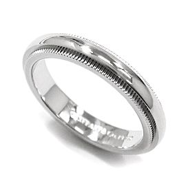 TIFFANY Co. Platinum Milgrain Ring Size 3.75