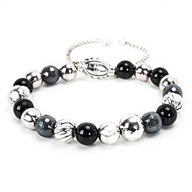 David Yurman Sterling Silver Onyx, Hematite Bracelet