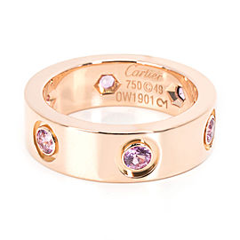Cartier Love 18K Rose Gold Sapphire Ring Size 5