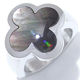 Van Cleef & Arpels WG Alhambra Black Shell Ring Size 3.75