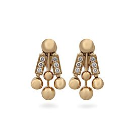 Bulgari 18K Yellow Gold Diamond Bar Earrings