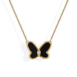 Van Cleef & Arpels 18K Yellow Gold Diamond Onyx Necklace