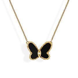 Van Cleef & Arpels 18K Yellow Gold Diamond Onyx Necklace