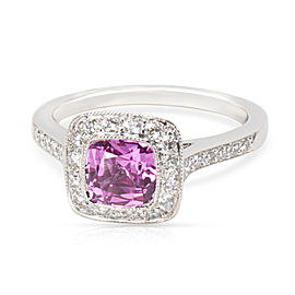 Tiffany & Co. Legacy Pink Sapphire & Diamond Ring in Platinum Size 6