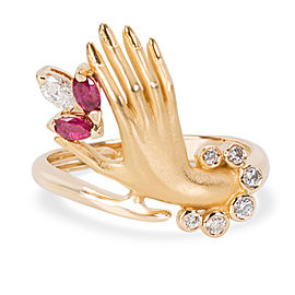 Carrera Y Carrera 18K Yellow Gold Diamond, Ruby Ring Size 5.5