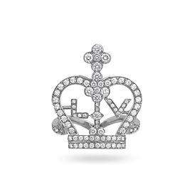 Louis Vuitton 18K White Gold Diamond LV Crown Ring Size 6.5