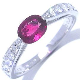 Mikimoto 18K White Gold Ruby, Diamond Ring