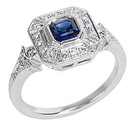 18K White Gold Sapphire, Diamond Ring Size 6.25