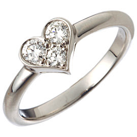 Tiffany & Co. Platinum Heart Diamond Ring Size 4.75