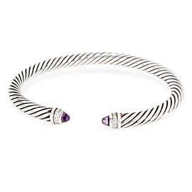 David Yurman 5mm Cable Diamond & Amethyst Bangle in Sterling Silver 0.14 CTW