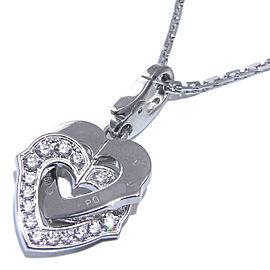 Cartier WG Diamond Double Heart Charm Necklace