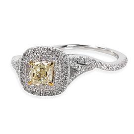 Halo Diamond Engagement Bridal Set with Yellow Cushion Center 18K Gold 2.00 CTW