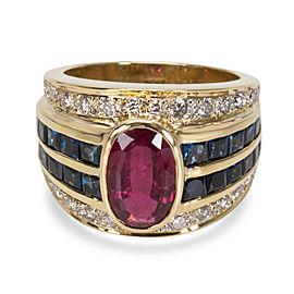 18K Yellow Gold Diamond, Sapphire Ring Size 8
