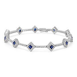 18K White Gold Diamond, Sapphire Bracelet