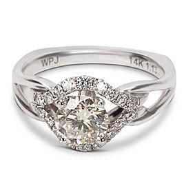 14K White Gold Diamond Engagement Ring Size 6.25